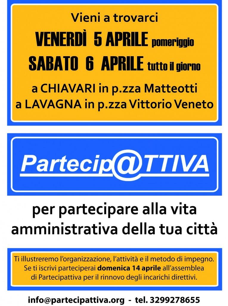 Partecipattiva sarà a disposizione dei cittadini di venerdì pomeriggio e sabato per l'intera giornata in piazza Matteotti a Chiavari e in piazza Vittorio Veneto a Lavagna.